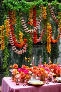 Ultra colorful wedding inspired by Indian floral garlands and Day of the Dead at The Foundry in NYC